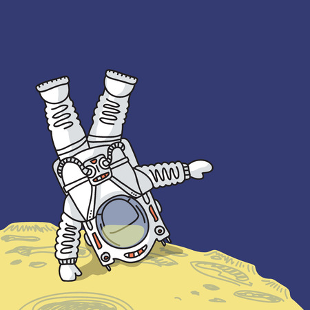 spacesuit: Astronaut in spacesuit is standing head over heels on surface of planet Illustration