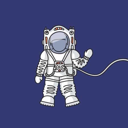 pioneer: L'astronaute dans la combinaison spatiale sur aussi�re dans l'espace