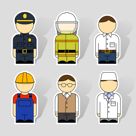 Set of six icons for different professions