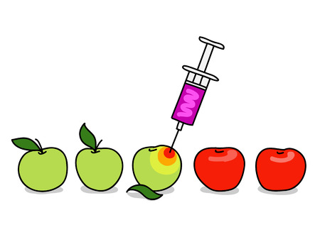 Illustration with green and red apples, syringe with unknown liquid inside Illustration