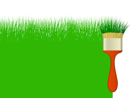 Creative background with grass and brush