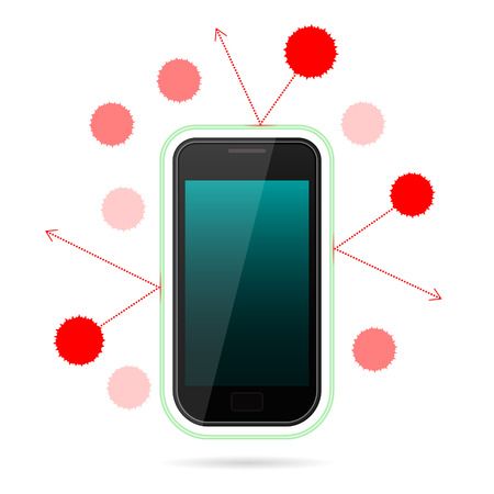 Schematic representation of virus attack on secured phone