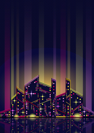 water reflection: Beautiful abstract night city with twinkles and glow and with reflection in water Illustration