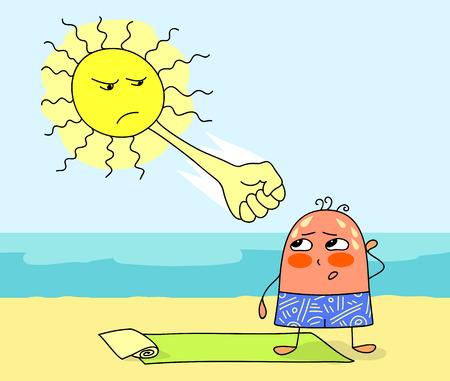insolación: Hombre caricaturizado en la playa y la insolación