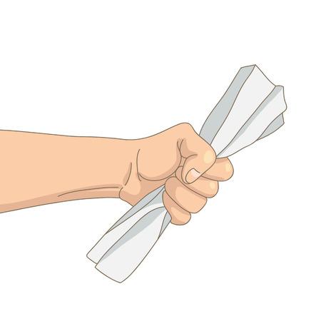 edicto: Hoja arrugada de papel en la mano crispada