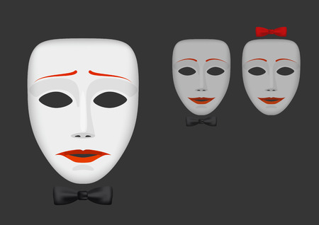 disharmony: White unhappy male mask with bow-tie and couple of happy masks on dark background Illustration