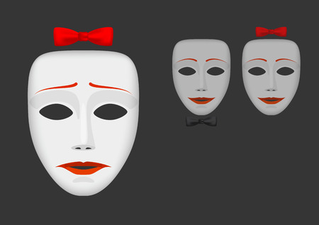 discord: White unhappy female mask with bow and couple of happy masks on dark background