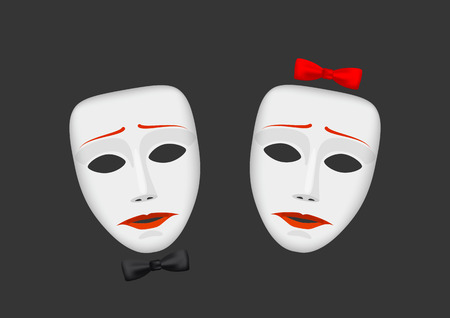 deceit: White male and female unhappy mask