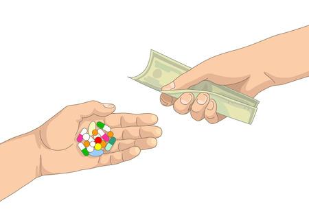 avuç: Başka bir elinde bir elinde hap ve kapsül avuç para Çizim