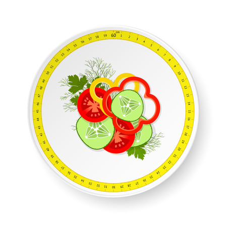 side dish: White dish with pattern from measuring tape and small dose of sliced fresh vegetables