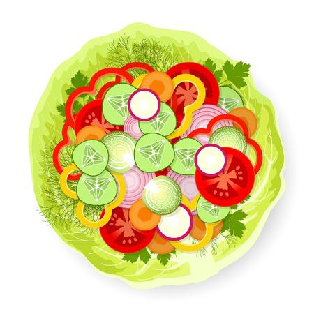 trimmings: Sliced fresh appetizing vegetables and greens on cabbage leaf Illustration