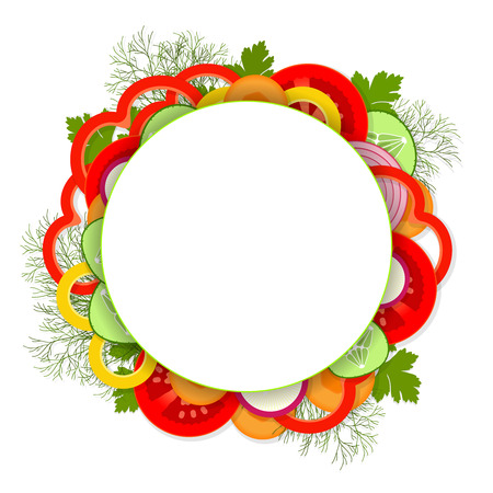 Sliced ​​delicious vegetables and greens on white background with round place for text in center