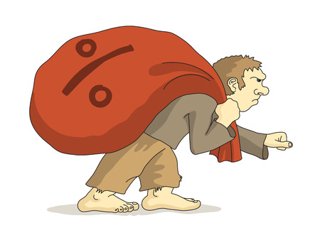 Caricatured poor man without shoes is pulling sack with a percent sign