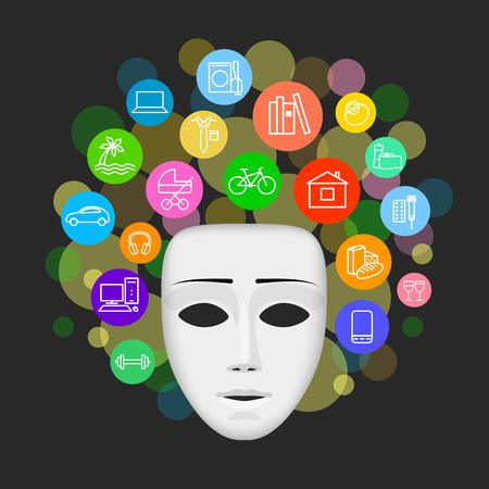 Mascherina bianca e le icone di possibili acquisti intorno ad esso su sfondo scuro