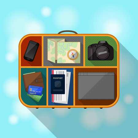 needed: Tourist suitcase and items needed for travel Illustration