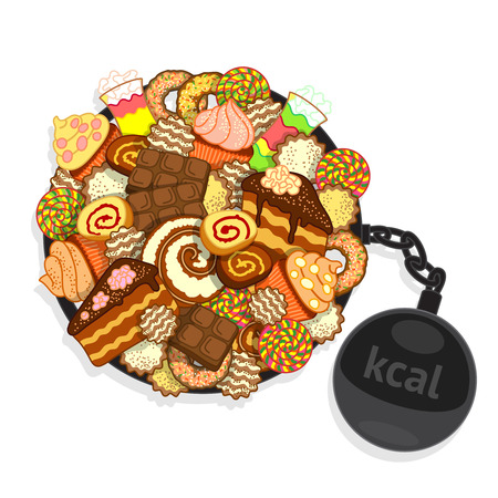 bulimia: Big pile of different sweets and confectionery, and shackles with ball-shaped weight