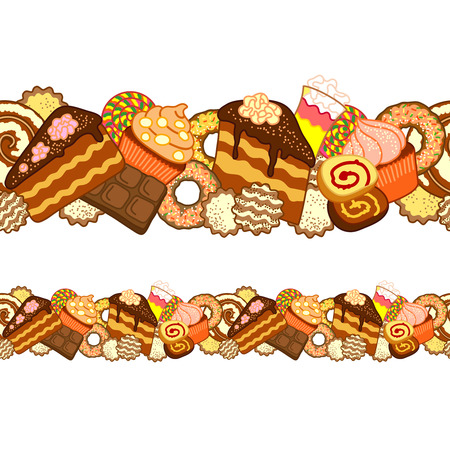 saemless: Seamless ornament of different sweets and confectionery on white background