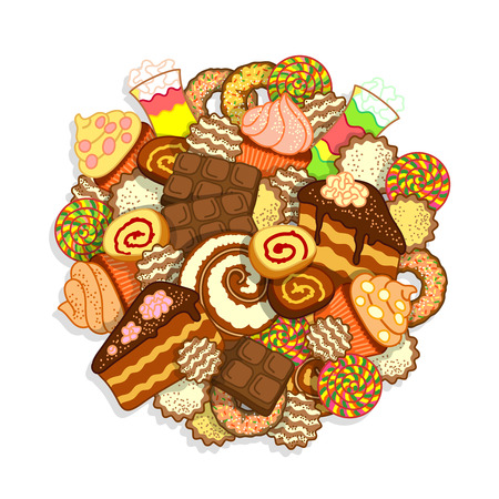 sweetness: Big pile of different sweets and confectionery on a white background Illustration