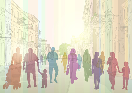 City street in the daytime and colorful silhouettes of people Vector