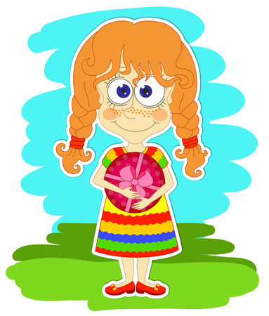 red haired person: Funny red-haired girl in a striped dress is keeping in her hands a gift in a beautiful box with pink bow