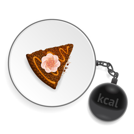 bulimia: White dish with a piece of delicious cake and a dark heavy ball-shaped kettlebell Illustration