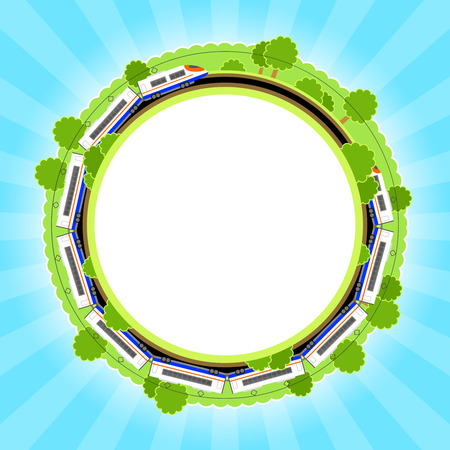 greens: Background with summer greens, white electric train, and blue sky Illustration