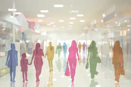Colorful silhouettes of people in the interior of modern department store with glass pavilions and mirror floor