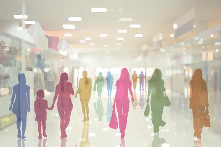 Bunte Silhouetten von Menschen in das Innere des modernen Kaufhaus mit Glaspavillons und Spiegelboden