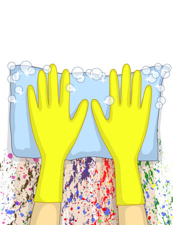 rubber gloves: Hands in yellow rubber gloves are cleaning multicolored spots from white surface