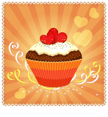 solemn: Greeting card with cupcake, ribbons and hearts