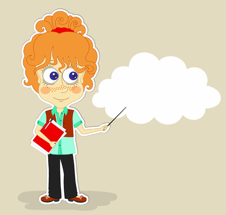 red haired: Funny red-haired girl is keeping in one hand red folder with documents and  pointer in another hand, and a cloud for text