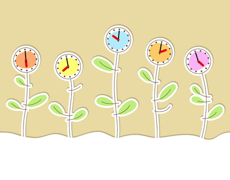 l hand: Funny background with flowers and multicolored clock Illustration