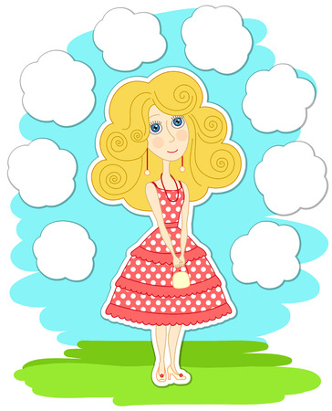 ร   ร   ร   ร  ร ยข  white clouds: Romantic thoughtful girl in pink dress, and white clouds around