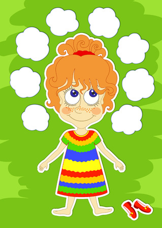 red haired: Funny red-haired girl in bright striped dress is laying on grass, and white clouds around her head