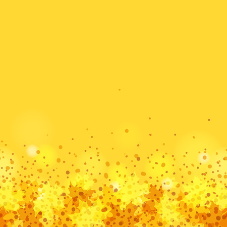 Yellow-orange seamless pattern with autumn maple leaves and sun glare Vector