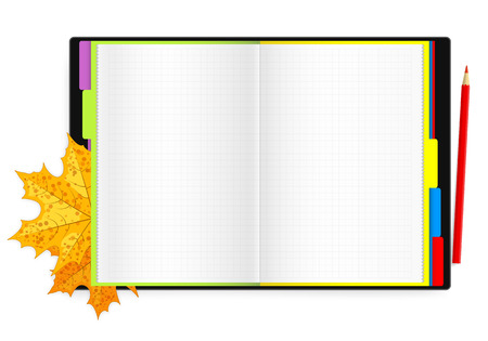 Double-page spread of notebook with colored bookmarks, red pencil and maple leaves Vector