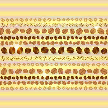 coffee berry: Seamless pattern with coffee beans, strips and glowing