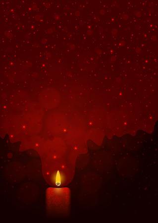 rojo oscuro: Festivo fondo rojo oscuro con la quema de velas, la luz, las estrellas y los copos de nieve Vectores