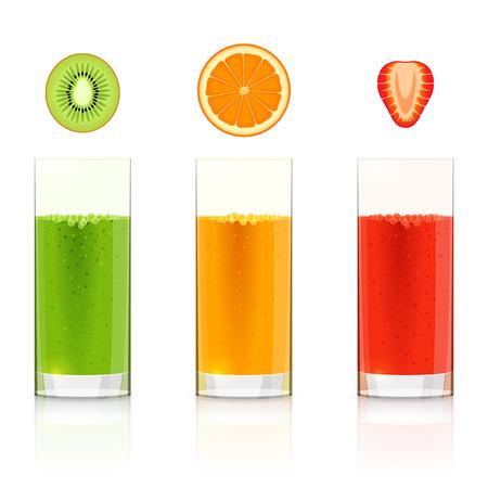 squeezed: Glasses with fresh kiwi, orange, strawberry juices and slices of kiwi, orange, strawberry