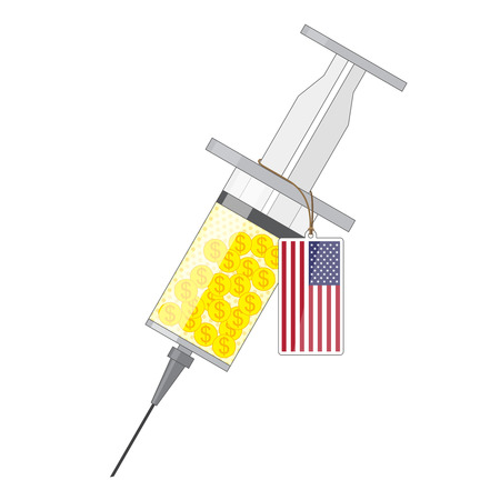 inoculation: Syringe with yellow solution of gold coin with dollar sign and label with flag of USA