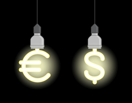consumer society: Bright energy saving lamps in form of euro sign and dollar sign Illustration