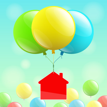 purchasing power: Red house icon is flying on colored balloons over multicolored balloons