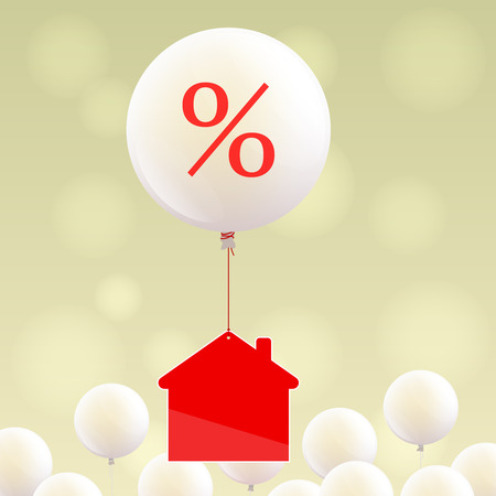 purchasing power: Red house icon is flying on white balloon with percent sign over little white balloons