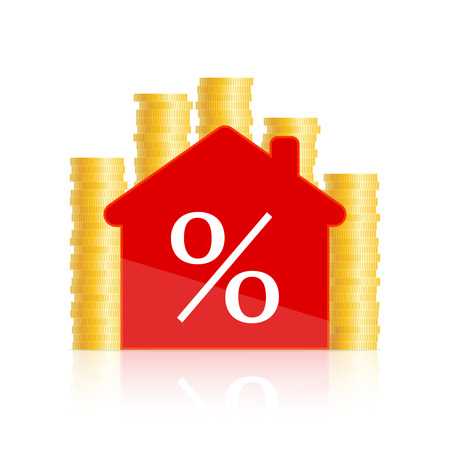 Red house icon with percent sign inside and golden coins around Vector