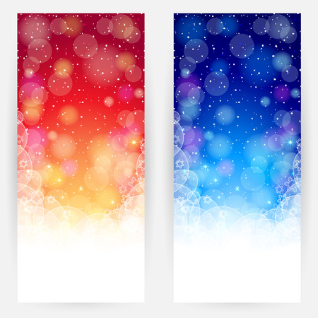 Set of red and blue festive backgrounds with circles, snowflakes, stars and shining Vector