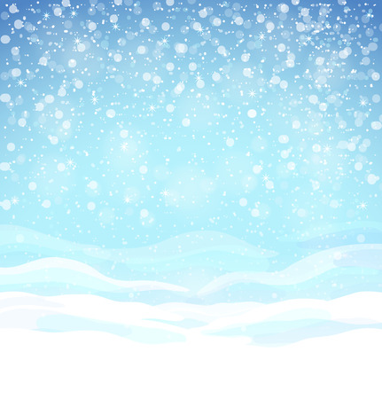 snow drifts: Beautiful winter background with blue skies, snow drifts and snowflakes Illustration
