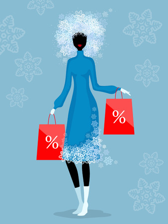 packets: Woman with hair, made up of snowflakes, holds red packets with percent sign