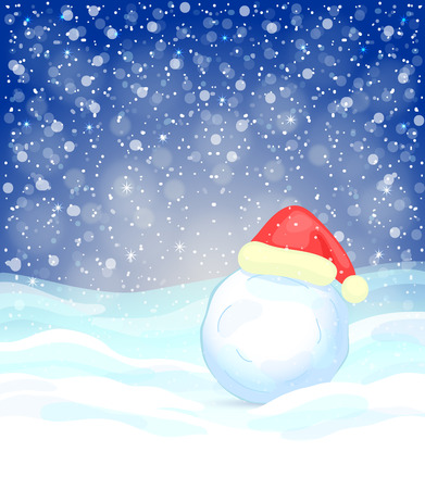 snowdrifts: Winter festive background with snowflakes, snowdrifts, snowball and red Santa Claus Illustration