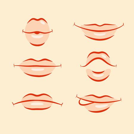изумление: Набор стилизованных губ с разными эмоциями