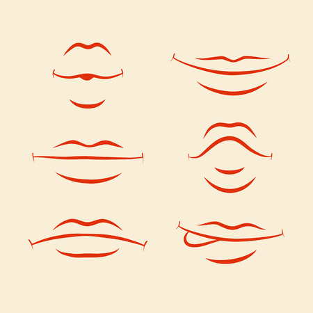 discontent: Set of stylized lips with different emotions